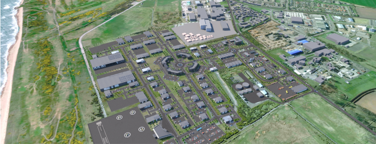 Visualisation of the completed site - Aerial view