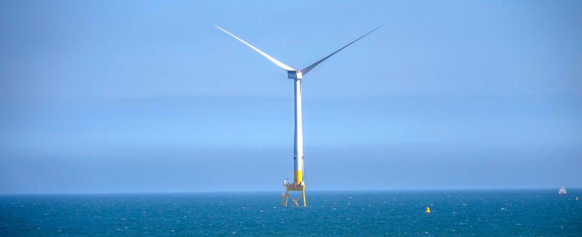 A wind turbine in the North Sea, near Balmedie