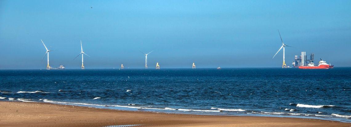 Turbine installation, off the coast near Aberdeen