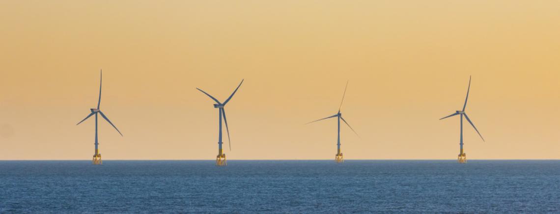 Wind turbines off the coast of Aberdeenshire